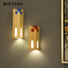 BOTIMI Nordic LED Wall Lamp With Wood Lampshade For Bedroom Colors Mounted Kids Room Luminaire Decor Wooden Sconce