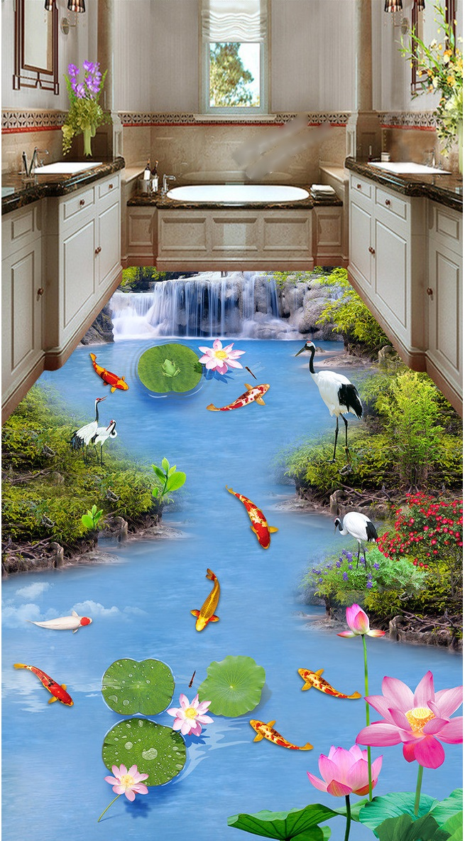 3d flooring custom waterproof self adhesion waterfall nine lotus carp fish 3d bathroom photo 3d wall murals wallpaper 3d wallpaper custom 3d flooring painting wallpaper murals nine fish 3d stereograph floor pebbles lotus leaf room photo wallpaper