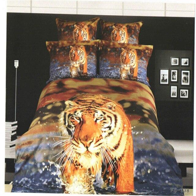 couvre lit tigre Jaune tigres animaux 3d imprimé couette ensemble de literie de  couvre lit tigre