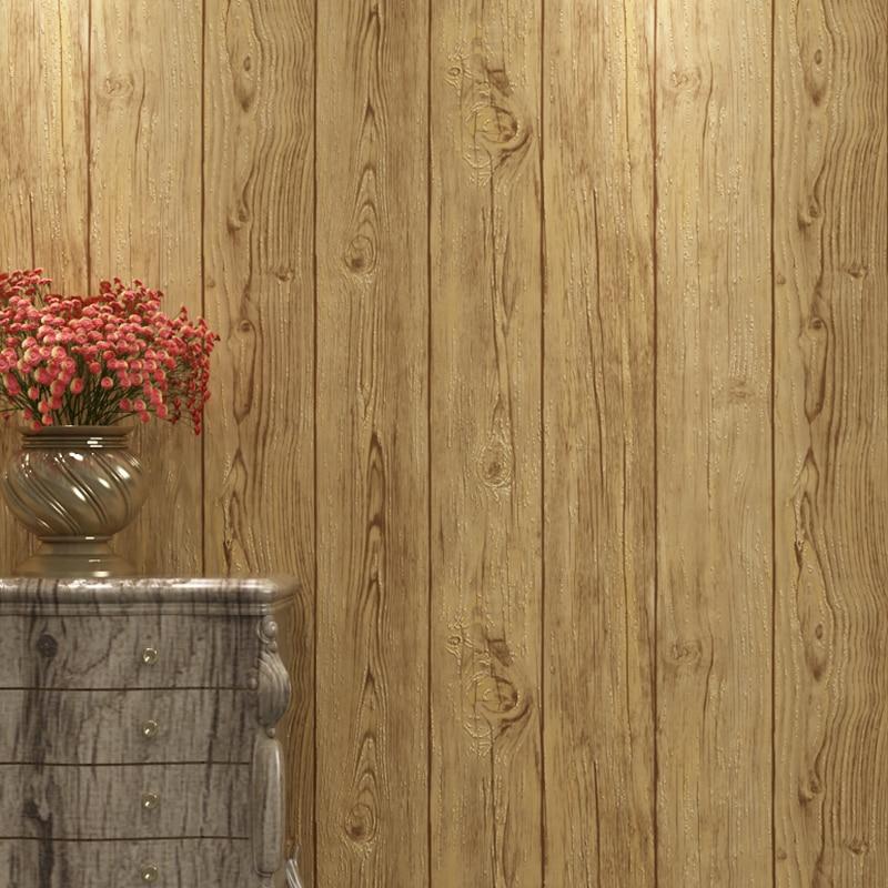 Rétro nouveau chinois imitation sol motif bois grain papier peint salon canapé TV fond mur moderne stéréo classique mur