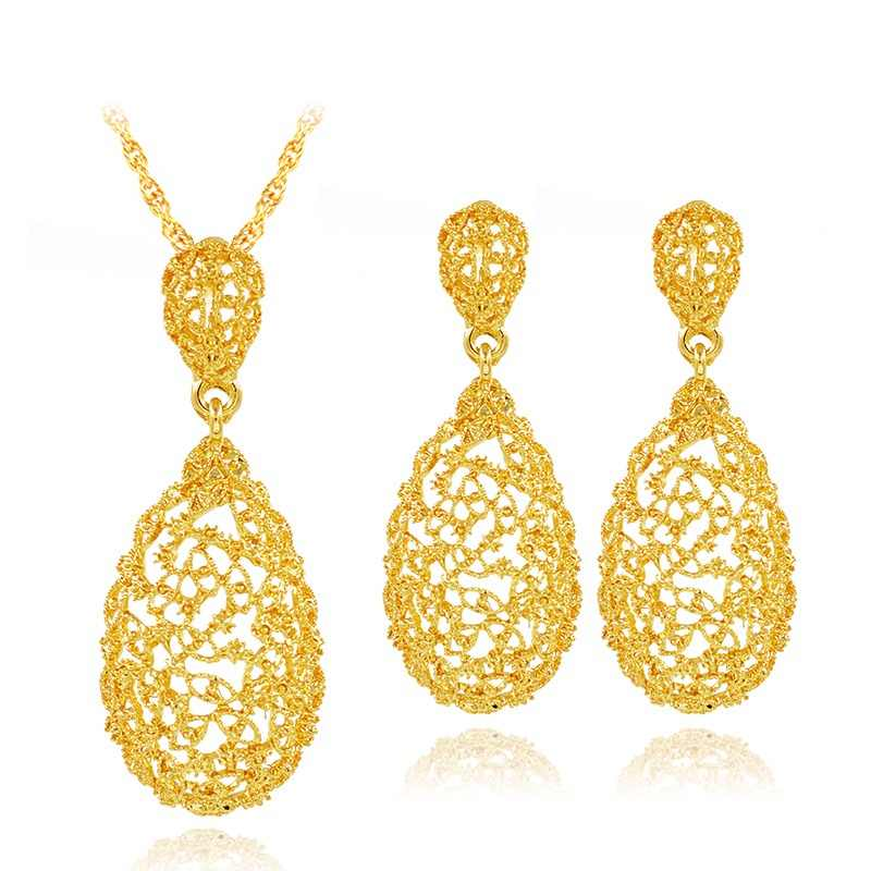Sunny Jewelry Vintage Jewelry Sets For Women Necklace Earrings Pendant Water Drop Hollow Out Jewelry Sets For Wedding Engagement
