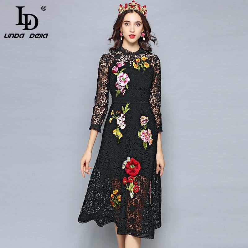 LD LINDA DELLA 2019 Fashion Designer Spring Dress Women s 3 4 Sleeve Luxury Lace Flower
