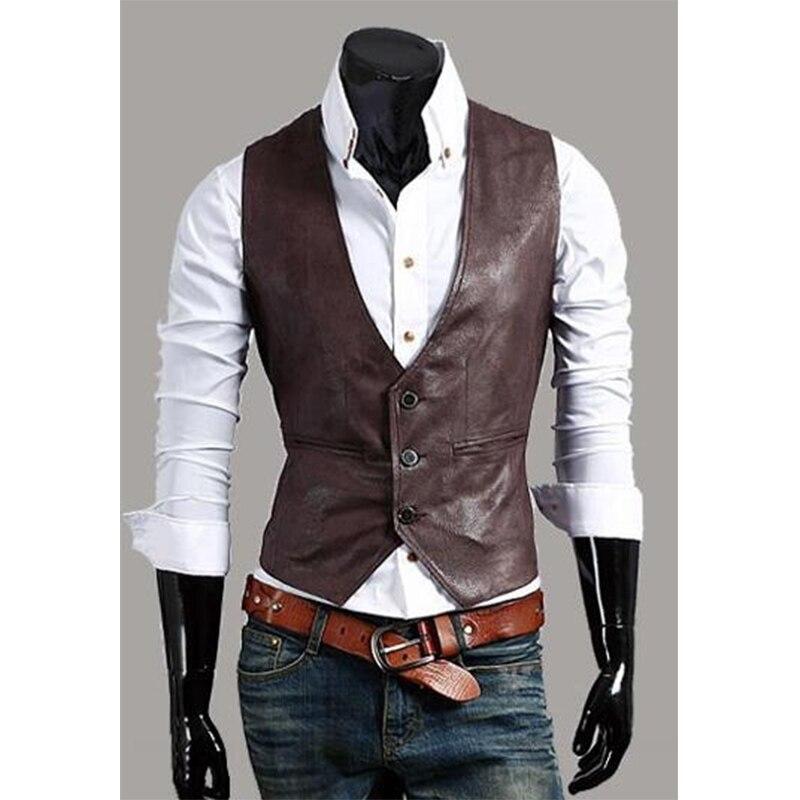Adaptable Zogaa Mannen Lederen Vest Mode Joker Blazer Plus Size Kostuums Casual Vesten Single Breasted Slim Fit Lederen Vest Heren Tops Een Unieke Nationale Stijl Hebben