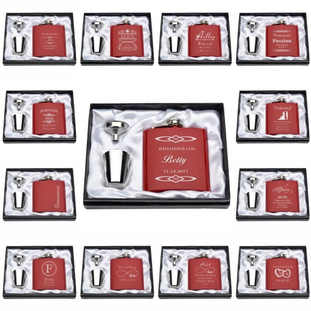 Set de personalizate gravate 6oz roșu Hip balon Set Set din oțel - Produse pentru sărbători și petreceri