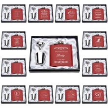 Set Of Personalized Engraved 6oz Red Hip Flask Set Stainless Steel Funnel+2 Cups Bridemaid Wedding Gift Favor Party Gift Favor