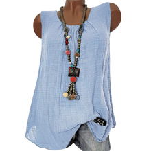 Vintage Linen Womens Sleeveless Casual Plus Size Ladies O Neck Summer Blouse Tops Solid Color 3XL