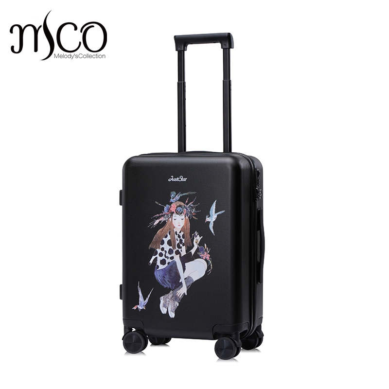 Just Star Braccialini Harajuku Fairy Girl Trolley suitcase/rolling spinner wheels Pull Rod luggage traveller case boarding bag 20 24 inch braccialini harajuku fairy girl trolley suitcase rolling spinner wheels pull rod luggage traveller case boarding bag