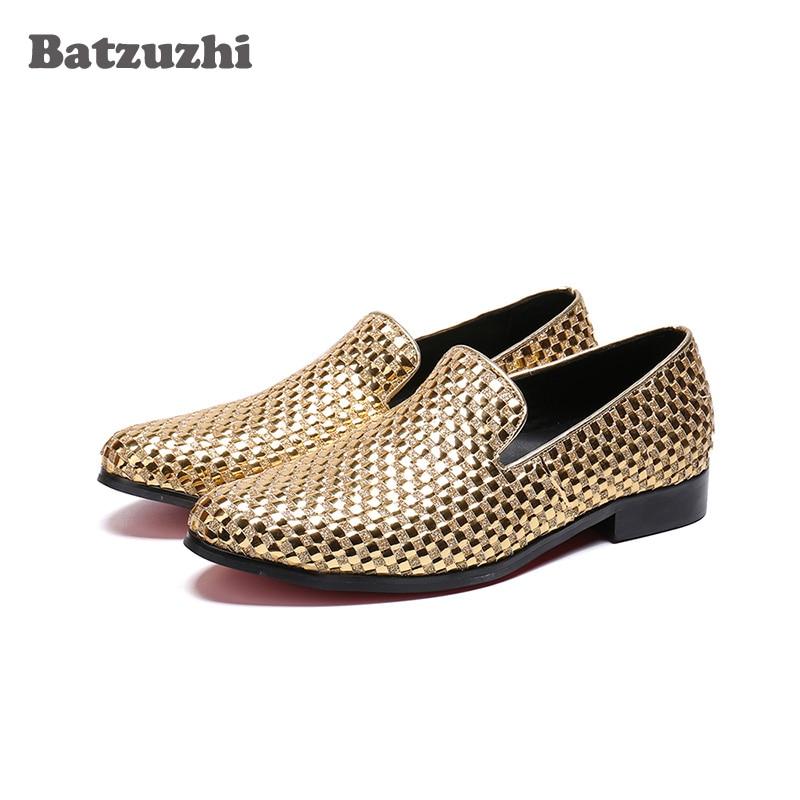 Batzuzhi Luxury Gold/Blue Men Loafers Shoes Genuine Leather Casual Shoes Men Flats zapatos de hombre Leather Shoes Men, US6-12 цена