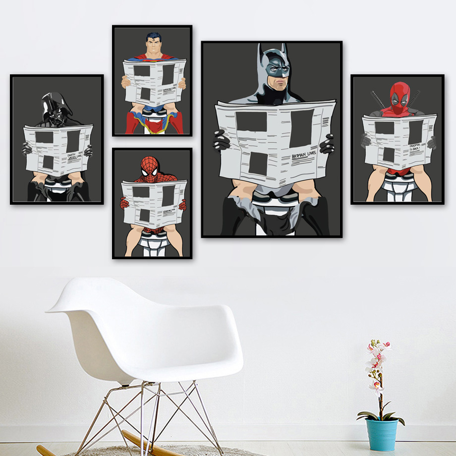 Cartoon Poster&print Superhero/man Read Newspaper In The Toilet Painting Washroom Restroom Decor Wall Art Picture Murals Charts