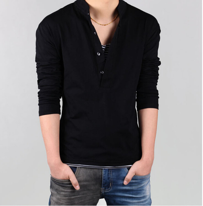 Men s long sleeve t shirts collar artee shirt for Large shirt neck size