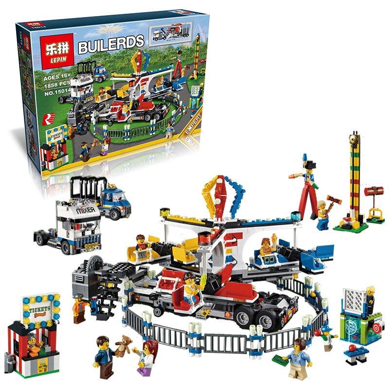 New LEPIN 15014 1858pcs Amusement park The carnival Model Bus