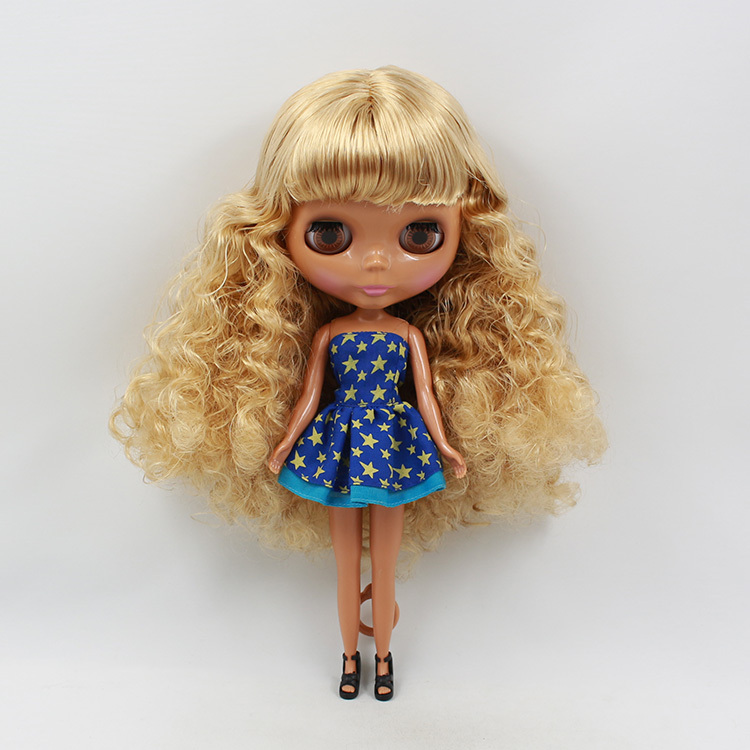 "12/"" Blythe Nude Doll from Factory Matte Face Black Skin Blue Curly Long Hair"