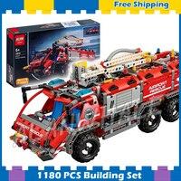 1180 шт. 2в1 Techinic аэропорт пожарно спасательная машина Грузовик Коллекция 20055 DIY модель строительные блоки мальчик наборы совместимы с lego