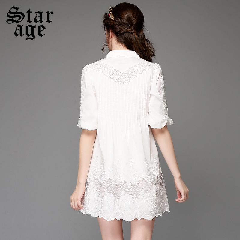 825e2828de9 S 5XL Plus Size Women White Lace Embroidery Dress Big Size Short Sleeve  Knee Length Sundress Ladies Loose Casual Dresses A758-in Dresses from  Women s ...