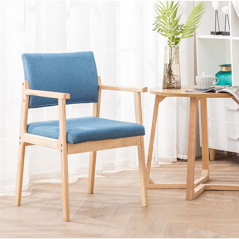 Image 3 - Solid Wood Dining Chair Armrest Nordic Home Furniture Modern Minimalist Back Casual Coffee Study Bedroom Dining Real Wood ChairDining Chairs   -