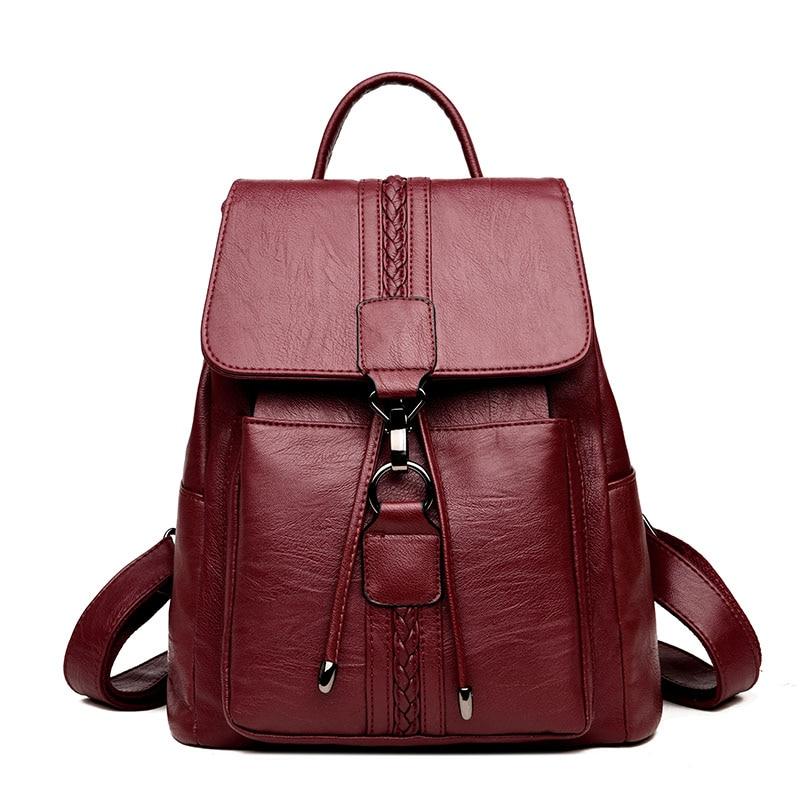LANYI High Quality Leather Women Backpack Fashion School Bag