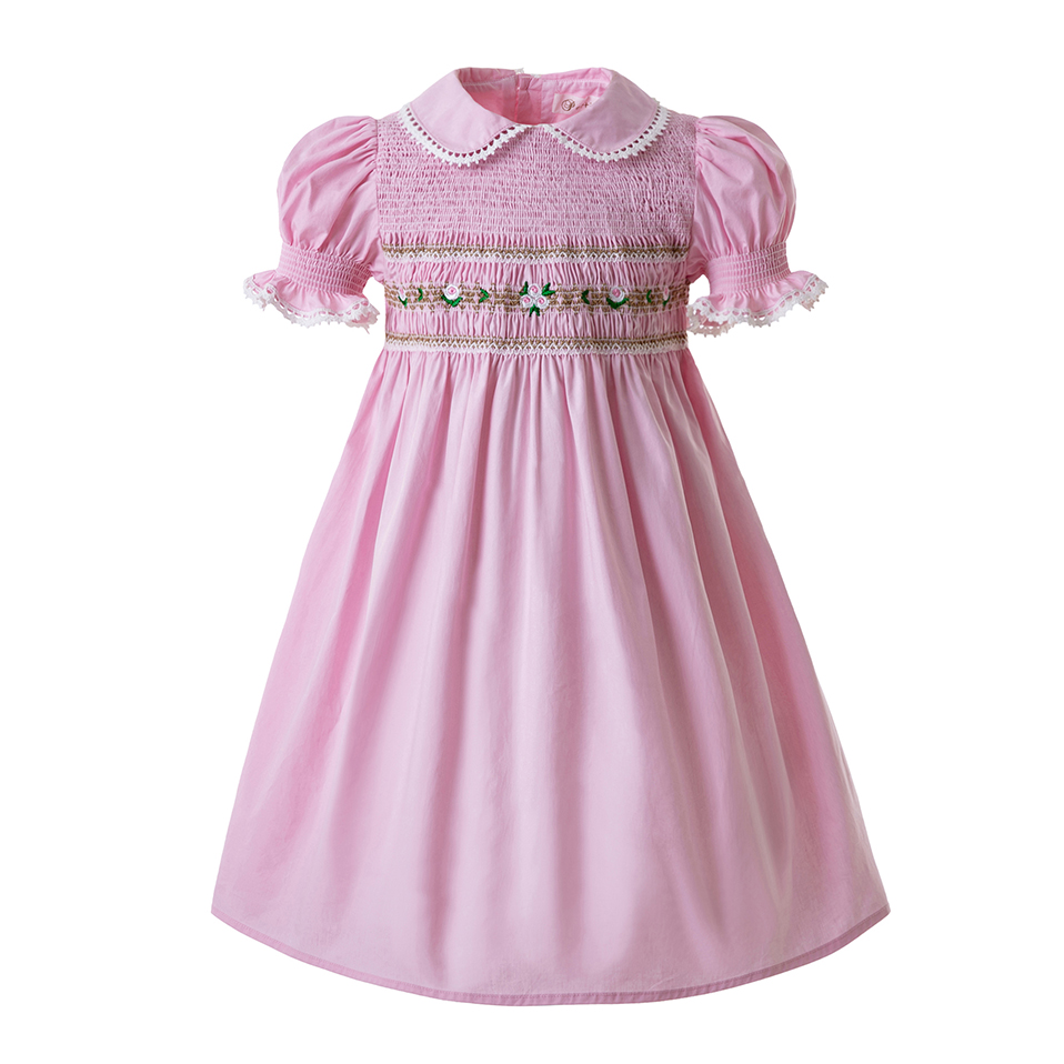 Pettigirl Smocked Christmas Dresses For Toddlers Doll Collar Smocked Bubble Baby Smock Pink Party Girls Costumes G DMGD0010 A185-in Dresses from Mother & Kids    1