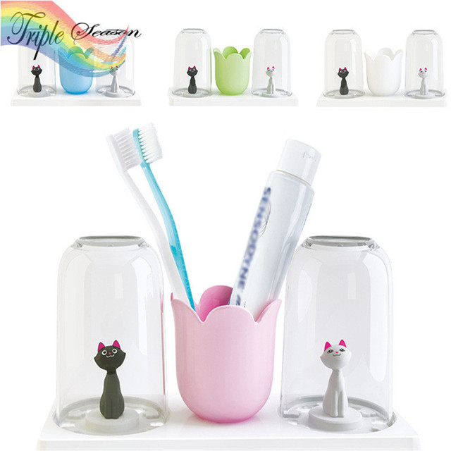 1 piece  Toothbrush Holder Storage Box with Rinse Cup Bathroom Set Wall Stand Plastic Couple Lover Bathroom Accessories AB0240S