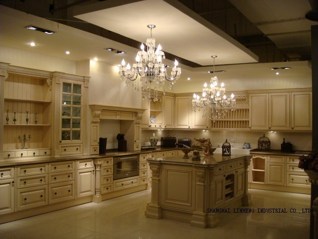 Modular solid wood/wooden kitchen cabinets( LH SW003)-in