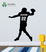 Custom Football Player Decal - American Quarterback Personalized  Jersey Name & Number Wall Sticker NY-24