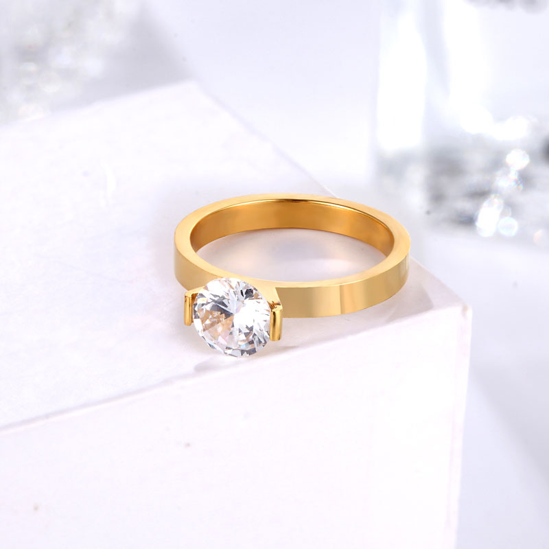 Hot 1 Carat Shiny Crystal Ring For Wedding Titanium Steel Top Quality Gold Color Jewelry Love Gift Woman Ring Wholesale 4