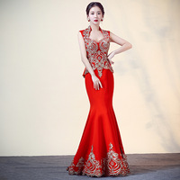 2018 Red Mermaid Wedding Chinese Traditional Dress Red Qipao Long Cheongsam Sexy Bride Dress Traditions Classic Women Dress