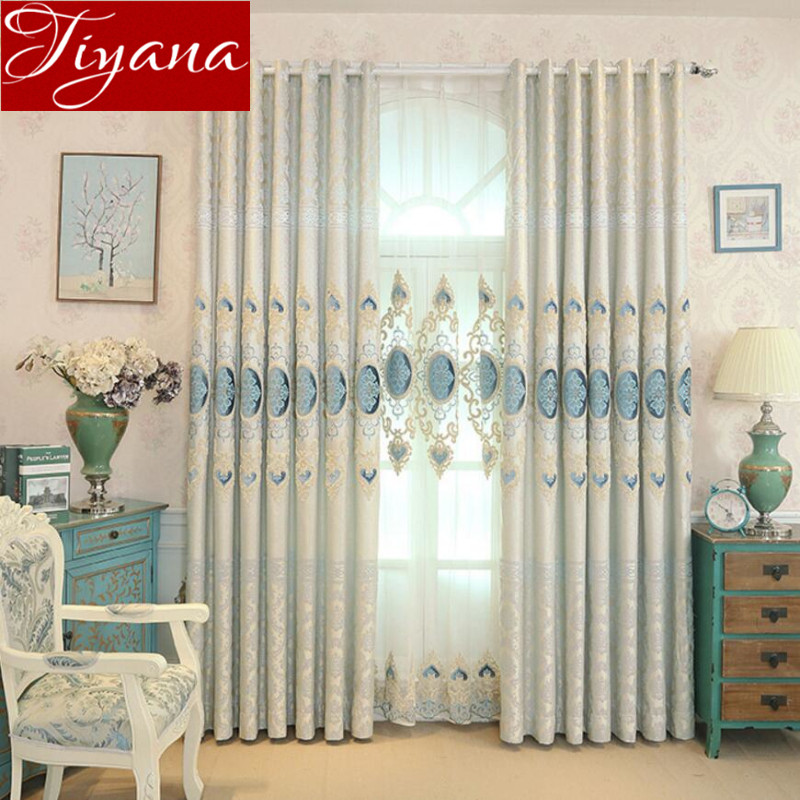 Jacquard font b Curtains b font Embroidered Tulle European Luxury font b Curtains b font Modern