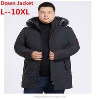 Плюс 10XL 9XL 8XL 6XL зима 90% гусиный пуховик мужской пуховик утепленное пальто большой меховой воротник жесткая зимняя водостойкая ветрозащитная
