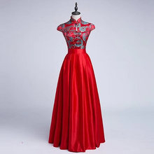 Long Cheongsam Red Women China Evening Dress 2017 New Chinese Traditional Oriental Silk Qipao Party Dresses Robe Chinoise