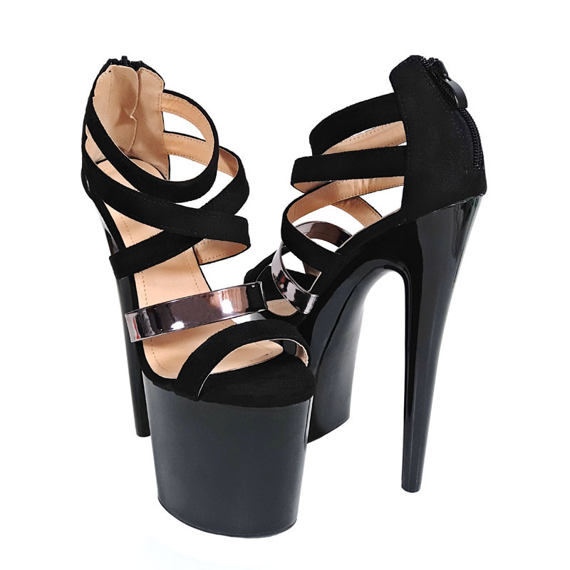 f2f4d886cc7 Leecabe Beautiful Black Pole dancing shoes with 8inches High Heel platform  20cm Pole Dancing sandal Shoes stilletto high heel