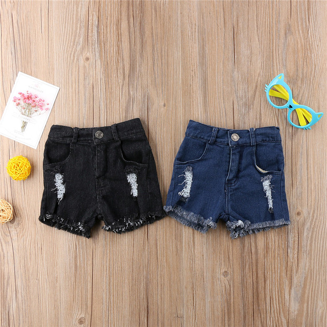 77db52325 Summer Kids Boys Girls Holes Jeans 2018 New Fashion Kids Stretch Ripped  Shorts Denim Hot Pants 0-5Year's Children Broken Pants