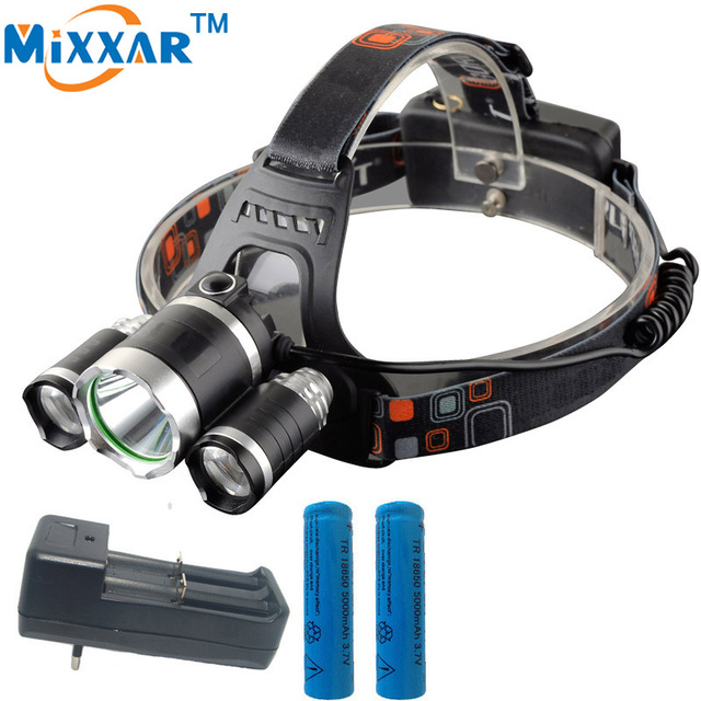 ZK35 9000LM Lumen LED Lighting Head Lamp T6 Headlight Hunting Fishing Camping Light XML T6 Power bank Rechargeable 18650 Charger