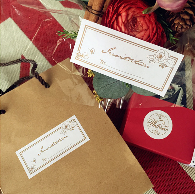 Aliexpress Buy rose invitation design 100pcs Stickers can – What to Write in Wedding Gift Card