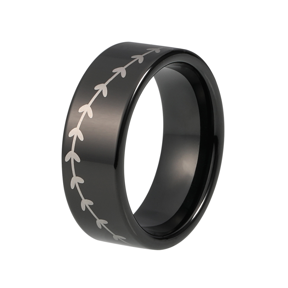 cool black men ring tungsten wedding band with baseball laser engraved - Cool Mens Wedding Rings