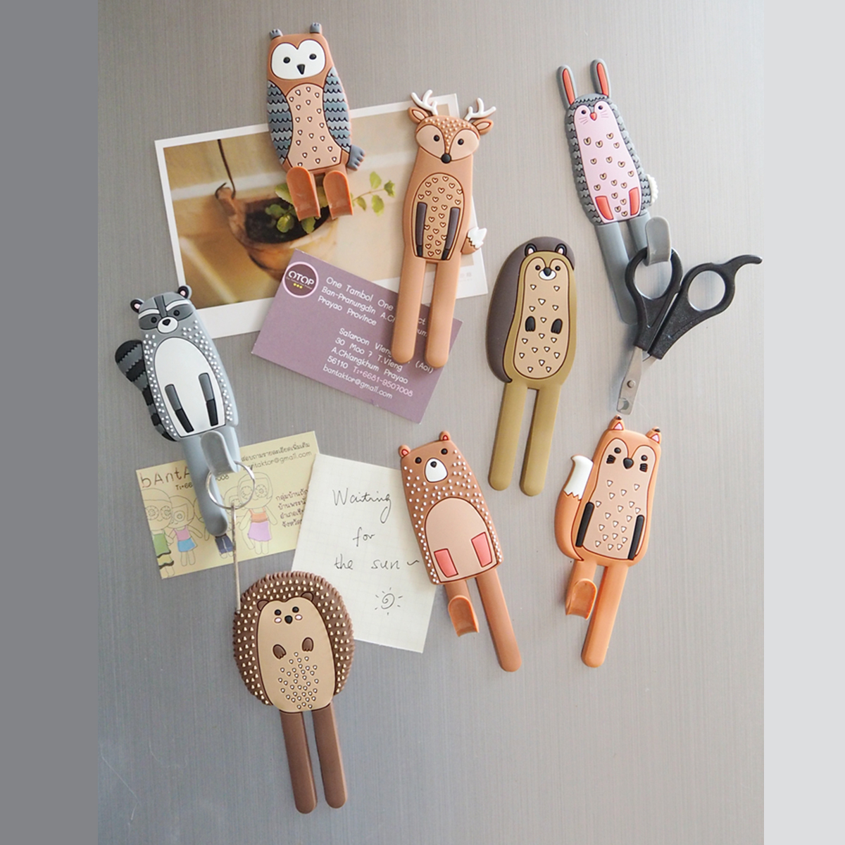 Cute Animals Magnetic Hooks Removable Decorative Fridge Sticker Refrigerator Message Magnet Coat Hanger Key Holder Storage Hook