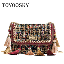 TOYOOSKY 2018 Ins Hot Fashion Wool Women Handbag Tassel Plaid Messenger Bag Vintage Ladies Flap High Quality Chain Shoulder Bag