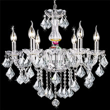 Прозрачные свечи хрустальные люстры спальня гостиная столовая бар люстра стекла 6 arms
