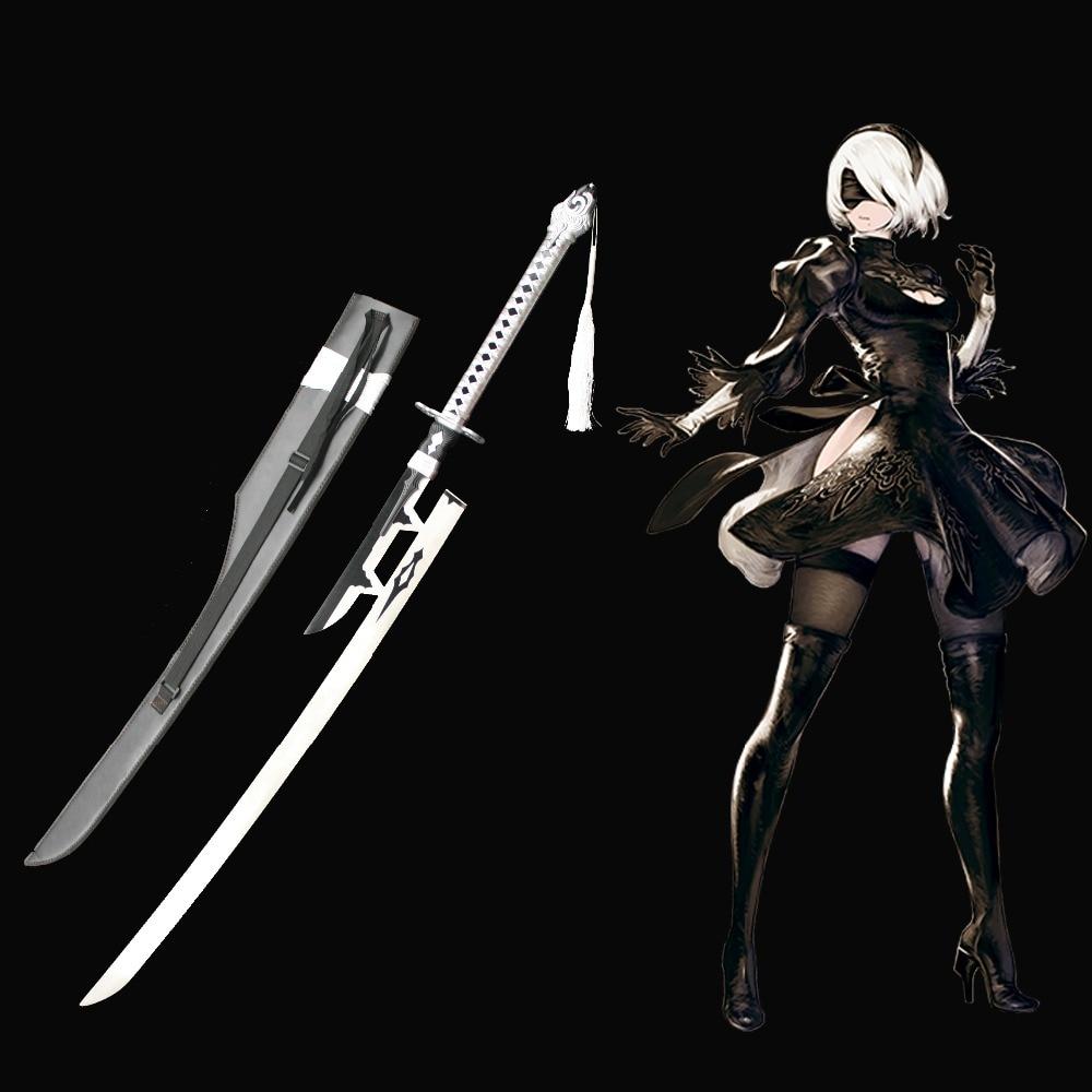 NieR Automata Yorha n°2 Type B 2 B's vertueux traité épée Anime jeu véritable Katana acier inoxydable Cosplay épée