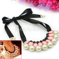 Hot Woman Multilayer Faux Pearl Beads Party Prom Sweater Ribbon Necklace Pink