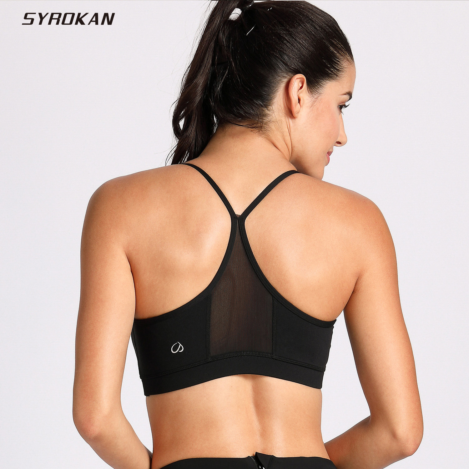 72c69063489a8 SYROKAN Women s Light Support Mesh Sports Bras with Removable Cups Yoga Bra-in  Sports Bras from Sports   Entertainment on Aliexpress.com