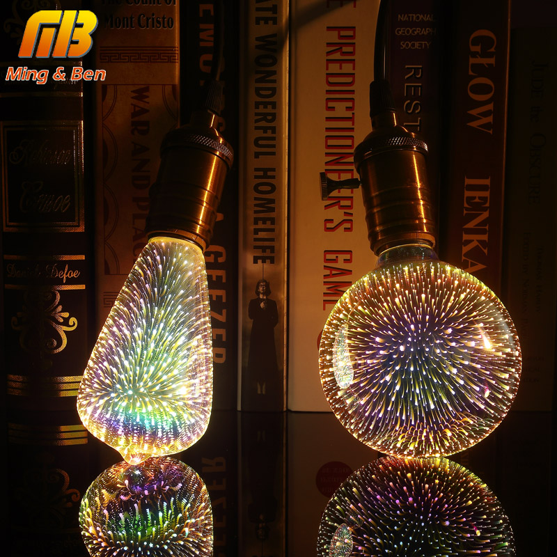[MingBen] Led Light Bulb 3D Decoration Bulb 85-265V ST64 G95 G80 G125 A60 Bottle Heart E27 Holiday Lights Novelty Christmas Lamp 3d fireworks led bulb light 220v e27 a60 st64 g80 g95 g125 novelty decoration lamp christmas lighting
