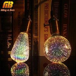 Lâmpada led decoração 3d lâmpada fogo de artifício 110 220 v st64 g95 g80 g125 a60 garrafa coração e27 luzes do feriado novidade lâmpada de natal