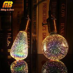 Светодиодные лампы 3D лампы украшения фейерверк 110 220 V ST64 G95 G80 G125 A60 бутылка сердце E27 Праздничные огни Новинка Рождественские лампа