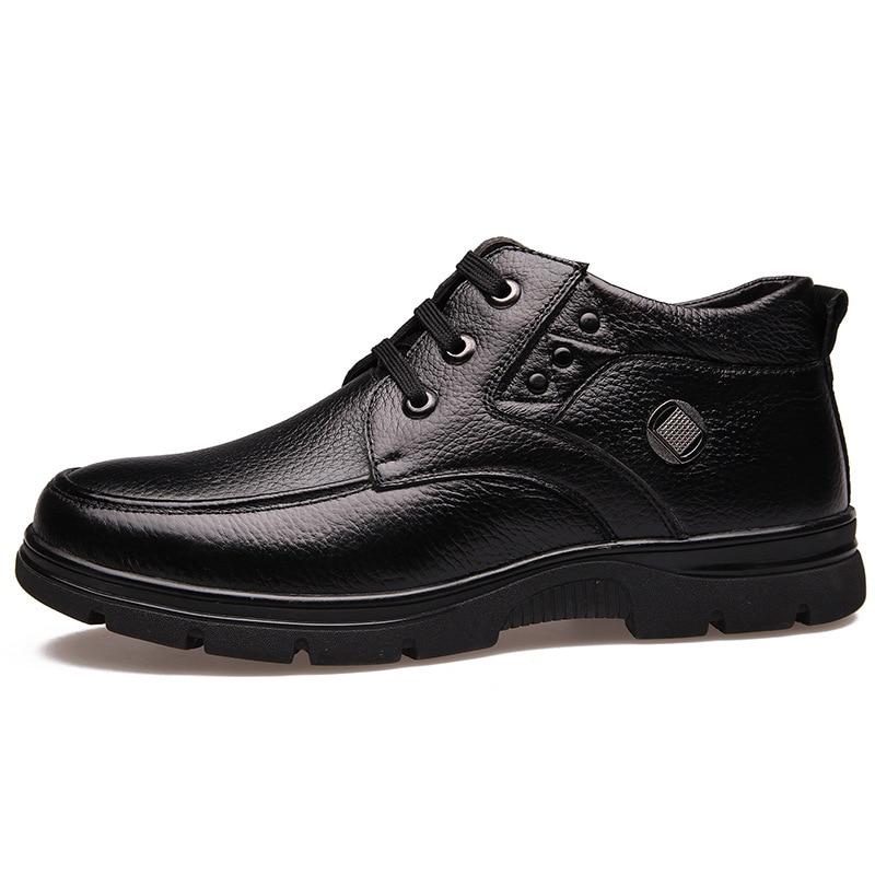 La 39 En Véritable Taille Noir Rembourré 48 Hiver marron Bottes Coton Cheville Hommes Chaud Cuir Neige Plus Chaussures Nouveau BtxorCsQdh