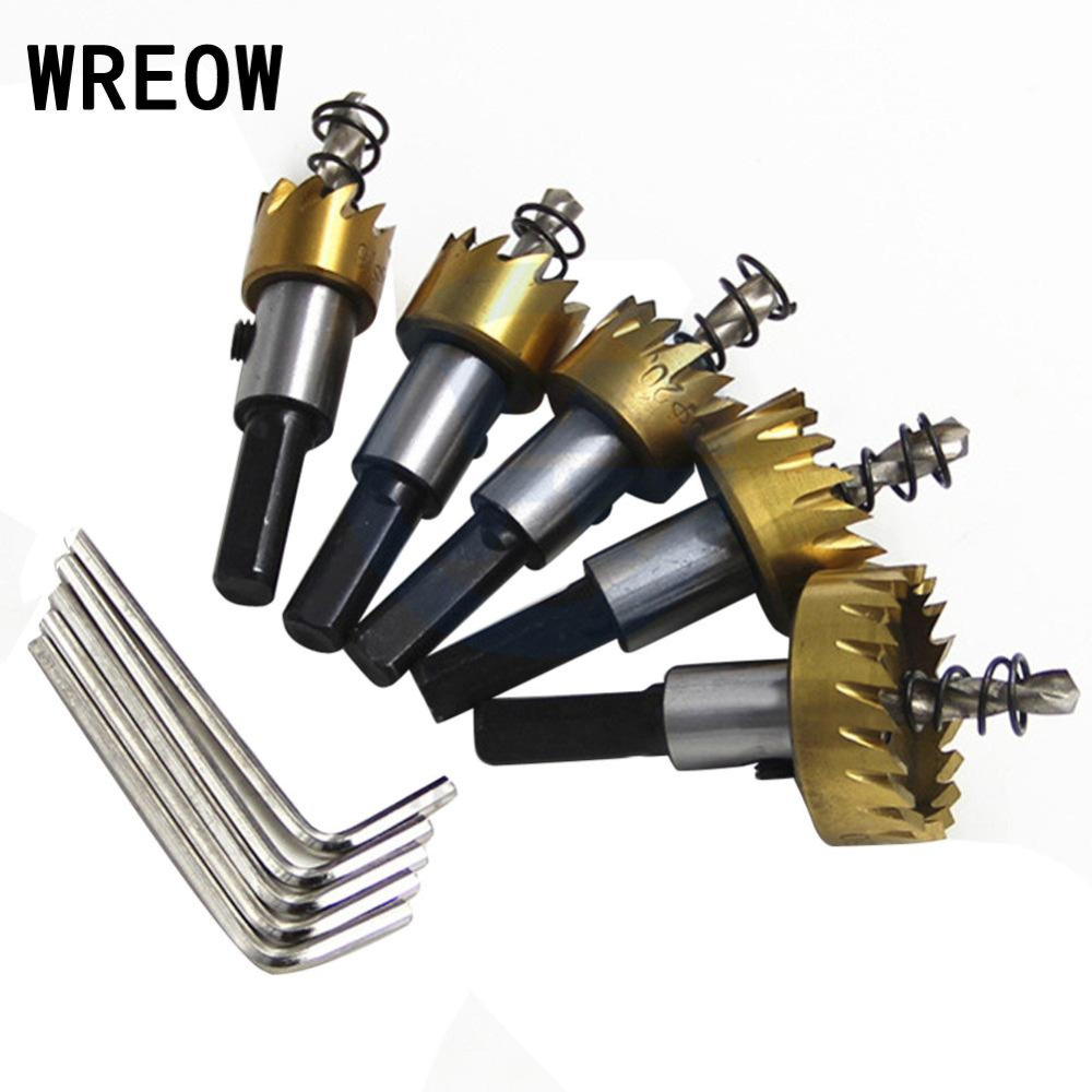 5pc/set HSS Titanium Twist Drill Bit Drilling Hole Saw Cutting Kit Holesaw Cutter Tool For Aluminum Iron Stainless Steel Plate