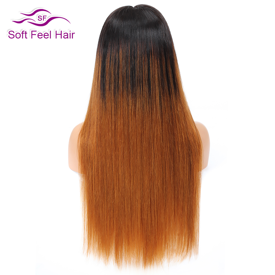 Soft Feel Hair Ombre 4x4 Lace Closure Human Hair Wigs Remy Pre Plucked Brazilian Straight Wig For Black Women 1B/30 Middle Ratio