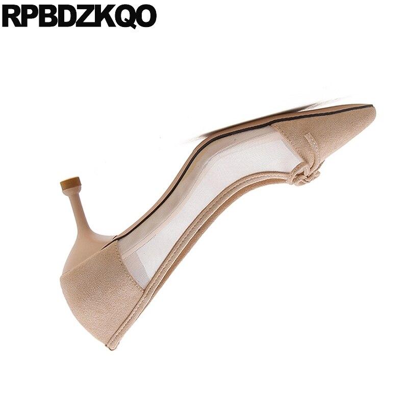 Kawaii Daim Chaussures Noir 2018 Bout 4 Talons apricot Cool Femmes Pointu Moyen Sandales Taille Maille Doux Arc En Nude 34 Mince Coréen Haute Mignon Pompes vqwOq