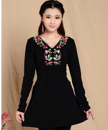 f6cf1344a177d 2019 Fashion Women Ethnic Mexican Embroidered Boho Cotton Peasant Blouse  Tunic Vintage Top Gypsy Dress Vestidos
