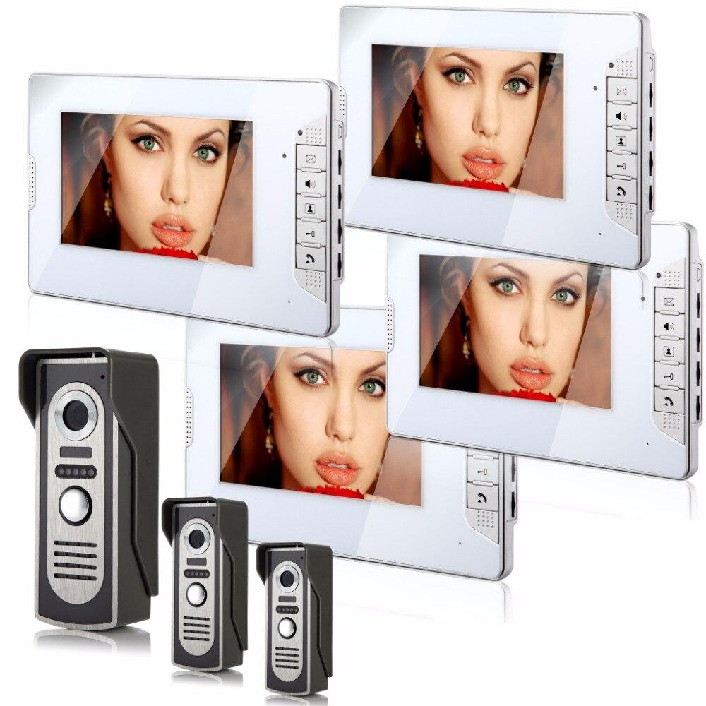 SmartYIBA Vider Intercom 7''Inch Color Monitor Wired Video Doorbell Intercom Door Phone System Night Vision 4 Monitor 3 Camera