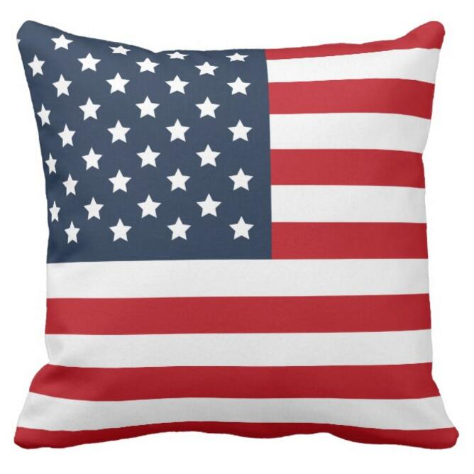 American Flag Stars Stripes Cushion Cover Patriotic US Flag Throw Pillow  Case Red White Blue USA Decorative Chair Seat Decor 18